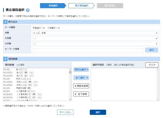 「表示項目選択」の初期画面