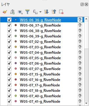 各shpファイルがレイヤーとして取り込まれている