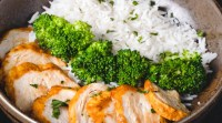 Post-workout meal chicken with white rice and broccolli bowl