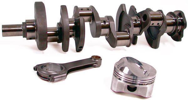 The combination of a lightweight forged crankshaft, lightweight H-beam connect¬ing rods, and forged pistons is a recipe for success in most racing applications.