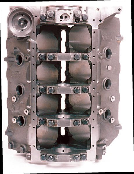 Dart Big M Chevy blocks come with either ductile iron four-bolt caps (Sportsman version) or billet steel four-bolt main caps. Main cap bolts are suitable for most applications but are often replaced with optional studs.