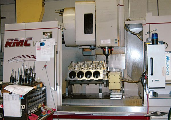 Modern race blocks are prepped on CNC machining centers like this at Dart Machinery. Modern casting techniques and CNC precision have made high-quality race blocks easily available to all racers.