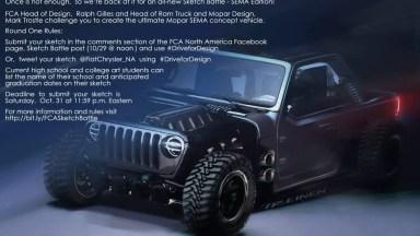 Mopar SEMA 2020 Sketch Battle Jeep