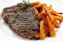 steak and sweet potato fries