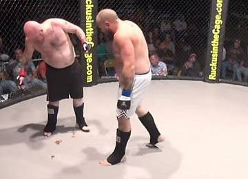 fighter craps in cage