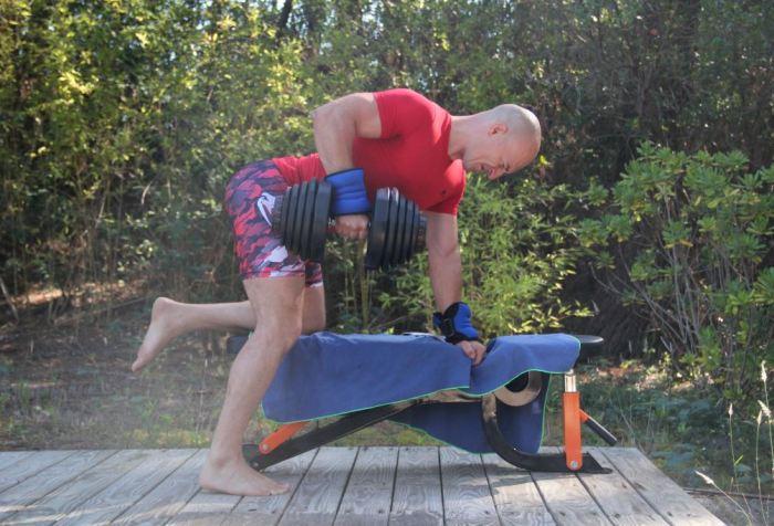 Rowing à un bras avec haltère