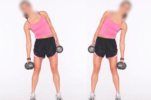 Flexion latérale avec haltères (mouvement incorrect)