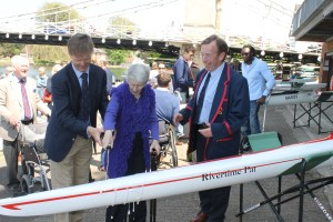 Rivertime Pat naming ceremony (l-r) Richard Buckeridge, Marlow Rowing Club Member, Pat Davis, Rivertime Boat Trust co-founder, Jonathan Walne, Marlow Rowing Club Captain; credit MRC