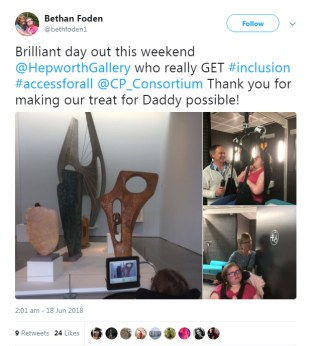 Hepworth Toilet tweet commenting on visiting the gallery with the CP toilet was a treat.