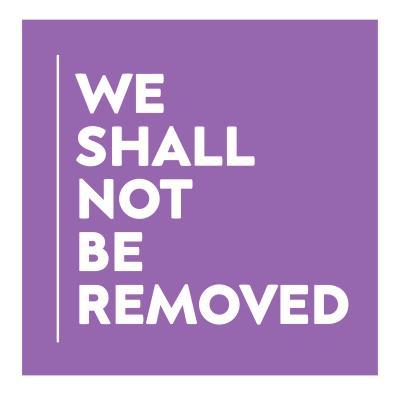 We Shall Not Be Removed in white capital letters in a purple background