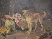 Escena de un niño durmiendo y un perro vigilando, pintado por Jaime Garnelo Fillol