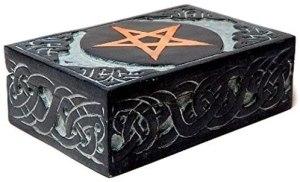 01-Caja para tarot con Pentagrama de metal