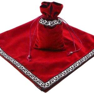 01-Mantel y bolsita para tarot - Rojo