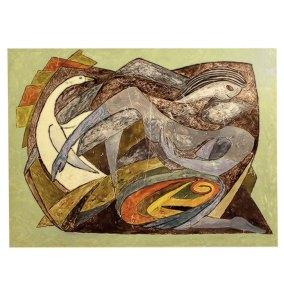 """""""Leda y el cisne"""" Ca. 1954 : esmalte sobre lámina 25 x 33 cm"""