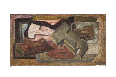 """Máscaras"" 1942 : óleo sobre yute 40.9 x 75.3 cm"
