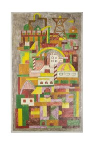 """Paisaje urbano"" 1958 : politec, placas de aluminio atornilladas, maderas 60.5 x 35.2 cm"