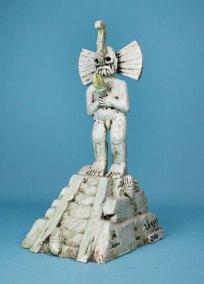 """""""Serie Tlalocan 2"""" : 2016 : talla en madera estucada : 43.5 x 20 x 25 cm"""