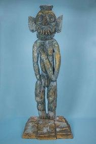 """""""Serie Tlalocan 5"""" : 2015 : talla en madera estucaday policromada : 151 x 60 x 32 cm"""