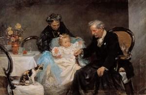 Padres del pintor, con su nieta Lola