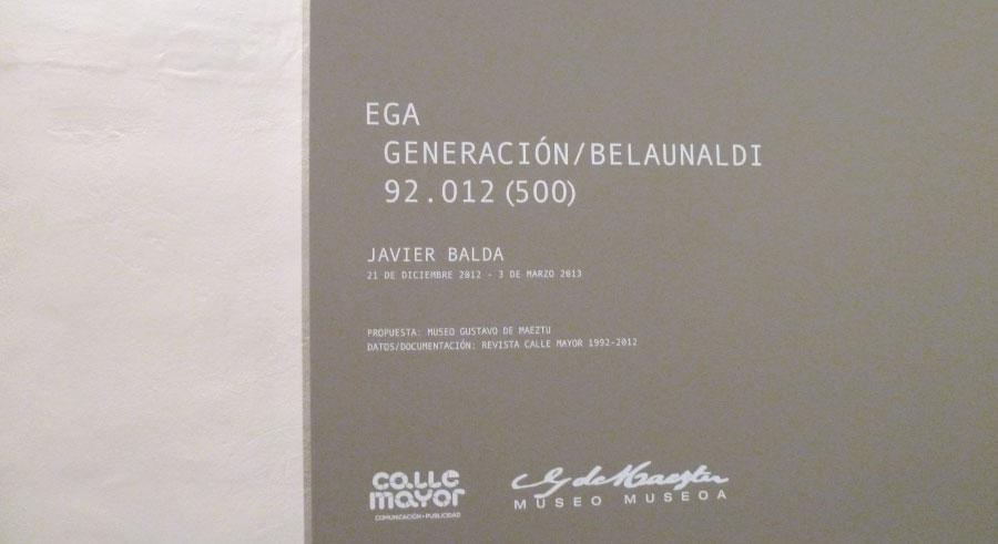 Javier Balda. Ega Generación / Belaunaldi. Exposiciones Museo Gustavo de Maeztu