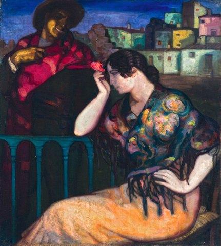 Mujer de la rosa. ID 028. Corpus Online Museo Gustavo de Maeztu