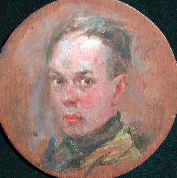 Luigi Varoli - Autoritratto 1927, olio su tavola, diam 11,7