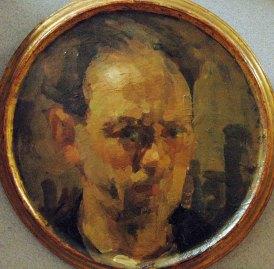 Luigi Varoli - Autoritratto 1926, olio su tavola, diam 26,7