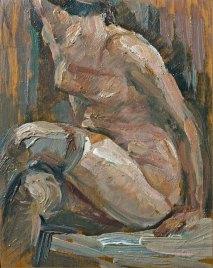 Luigi Varoli - Nudo seduto con calze, 1937, olio su tavola, cm 20,5x16,5