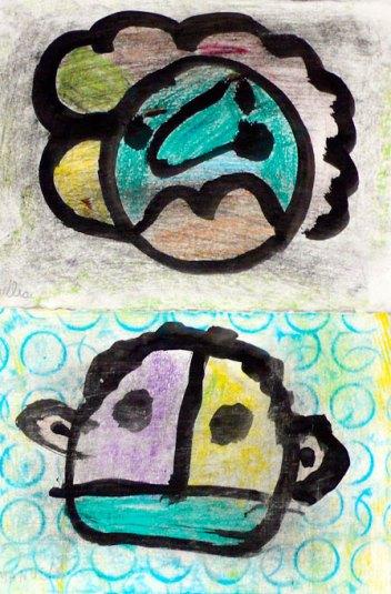 Disegno preparatorio a pennello e china e colorato con pastelli a cera