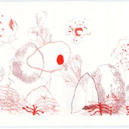 n.52, Veronica Azzinari, Vita acquatica, 2015, 44 x 33 cm, serigrafia a 3 colori+ stampa calcografica a secco, Tiratura: 36 copie, 10 copie per la donazione