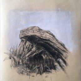 n. 53 Marco Bettio, Un angolo tranquillo, 2020, carbone e gesso su carta da spolvero, cm 40x30