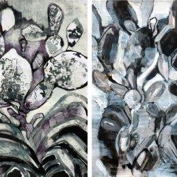 n.19 Massimiliano Fabbri Giardino Fossile | Scavo Crescita, 2016, dittico, tecnica mista e collage su carta, cm 70x50 (ciascuno)