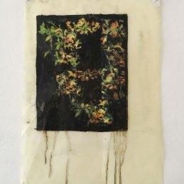 n.80, Elena, Hamerski, Foresta Nera (corona), 2016, olio di lino, pigmento nero, pastelli acquerellabili su carta, 41x29cm