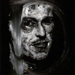 n.114 Massimo Pulini Ut pictura. D, 2020, olio su vetro, cm. 24x18