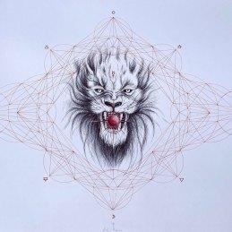 n.149 Giovanni Ruggero Trasmutazione della materia, penna su carta, cm 100x70
