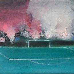 n.48 Alberto Zamboni La legge della curva, 2018, olio su tela, cm 15x30