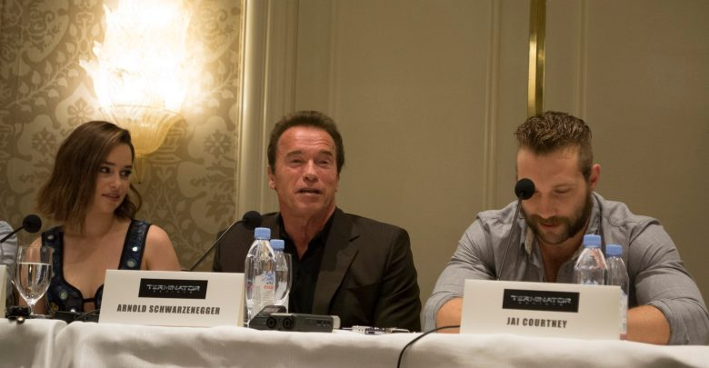 Terminator Genisys Press Conference arnold jai and EmiliaB