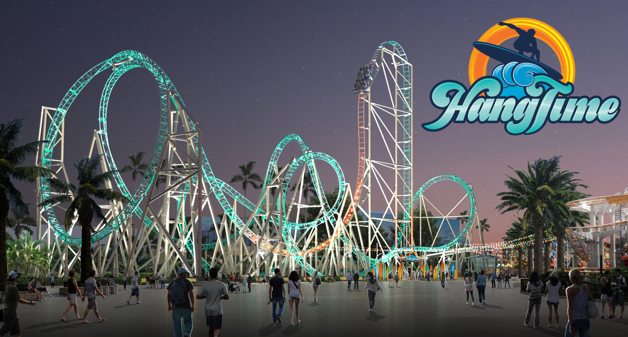 Knotts Berry Farm HangTime Night Time Rendering With Logo