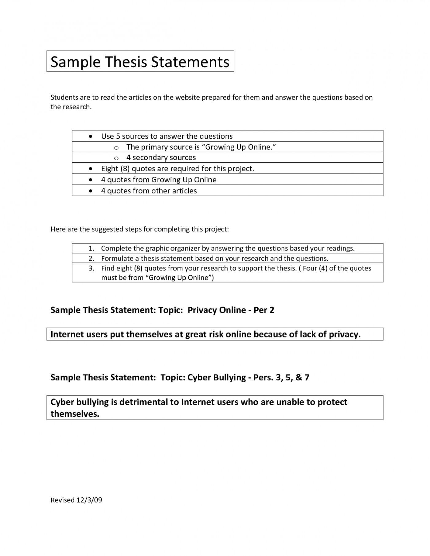 Thesis Statement Exercises Worksheets With Answers
