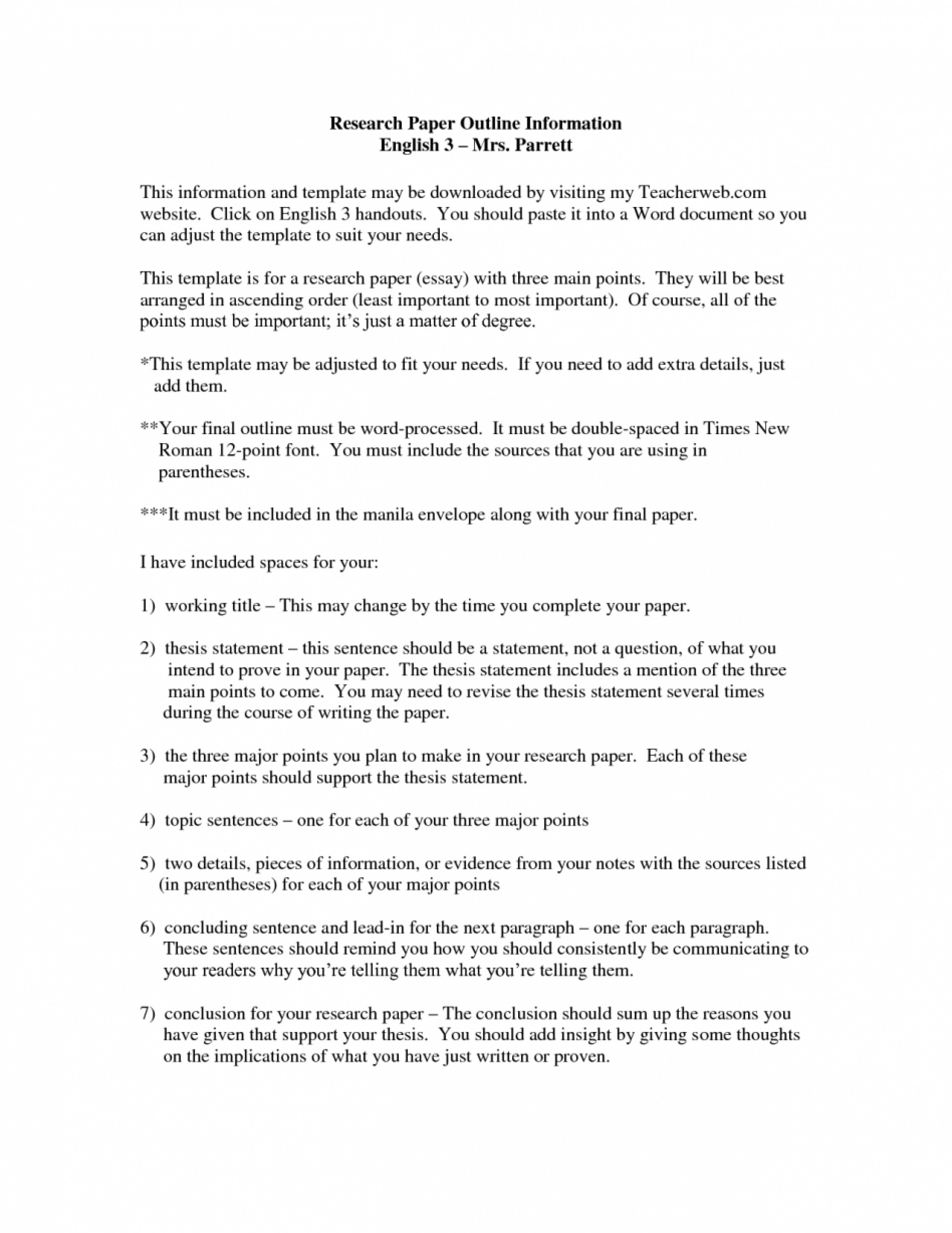 010 Research Paper Career Outline Formats For Papers Bunch