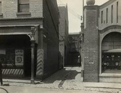 Gun Alley, where the body of Alma Tirtschke was found
