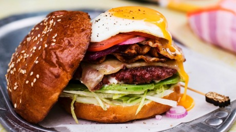 Australian burger with egg and beetroot