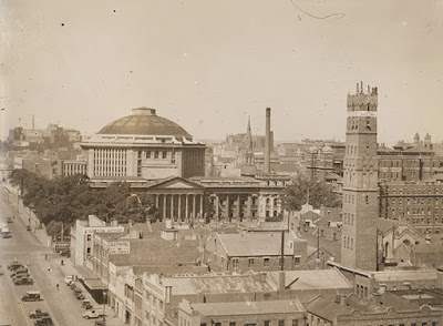 Melbourne in 1920, showing the Coop Shot Tower, and the State Library