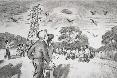 An artist's impression of the Westall UFO sighting.