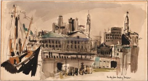 'The City from Darling Harbour' (1958), an early Brett Whiteley work.