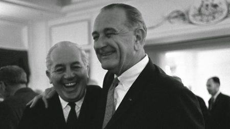 Harold Holt with his friend Lyndon Johnson.
