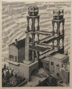 'Waterfall', by M.C. Escher, a drawing using impossible objects