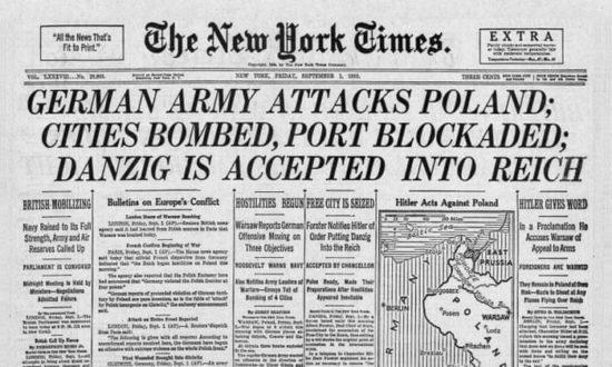 Newspaper headline, September 1 1939