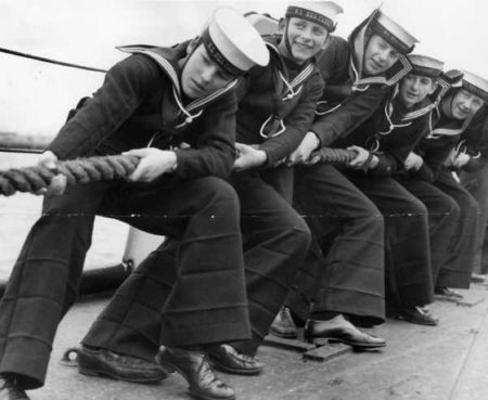 US Sailors wearing bell-bottom trousers
