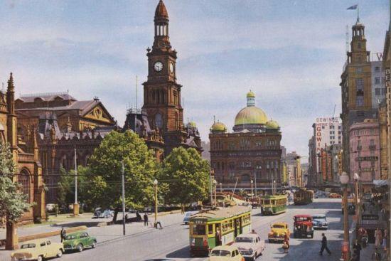 Trams on George Street, Sydney